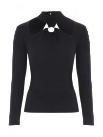Jane Norman Black Ring Cut Out Top