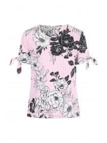 Womens Pink Floral Stripe Top