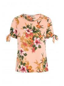 Womens Coral Tropical Print Top