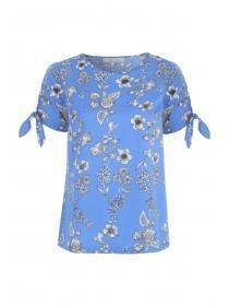Womens Blue Floral Print Top