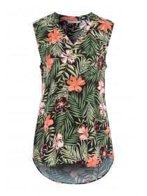 Womens Black Tropical Sleeveless Top
