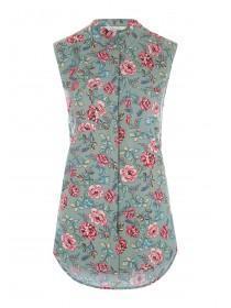 Womens Khaki Floral Sleeveless Top