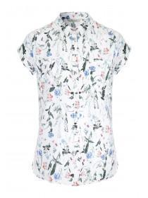 Womens Cream Floral Short Sleeve Blouse
