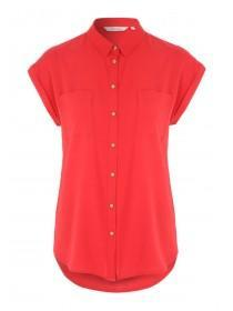 Womens Red Short Sleeve Blouse