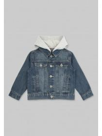 Younger Boys Blue Hooded Denim Jacket
