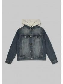 Older Boys Blue Hooded Denim Jacket