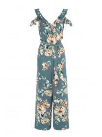 Womens Teal Floral Frill Jumpsuit