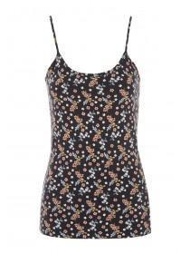 Womens Black Floral Cami Top