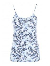 Womens Blue Floral Cami Top