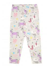 Younger Girls Grey Unicorn Leggings