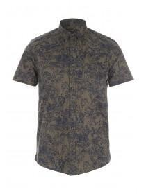 Mens Khaki Tropical Print Short Sleeve Shirt