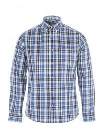 Mens Blue Check Long Sleeve Shirt