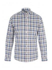 Mens Khaki Check Long Sleeve Shirt
