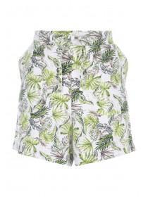 Womens Green Palm Linen Shorts