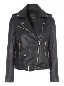 Jane Norman Black Belted Leather Biker Jacket