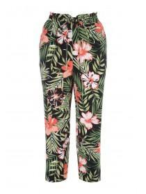 Womens Green Tropical Print Cropped Trousers