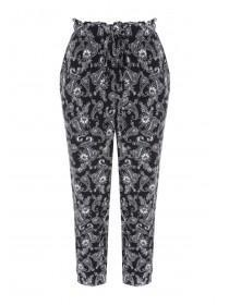 Womens Monochrome Paisley Cropped Trousers