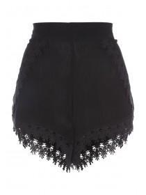 Womens Black Crochet Trim Shorts