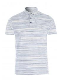 Mens Blue Textured Polo Shirt