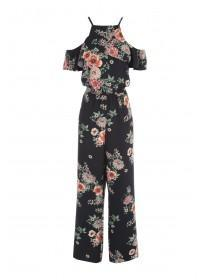 Womens Black Floral Halter Jumpsuit
