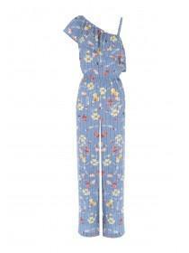 Womens Blue Floral One Shoulder Jumpsuit