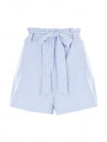 Womens Blue Striped Belted Shorts
