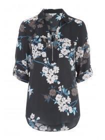Womens Floral Zip Top
