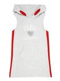 Younger Girls Grey Sporty Hooded Dress