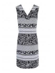 Womens Monochrome Floral Linen Dress