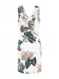 Womens Cream Tropical Print Dress