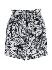 Womens Monochrome Palm Belted Shorts