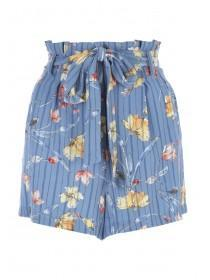 Womens Blue Floral Belted Shorts