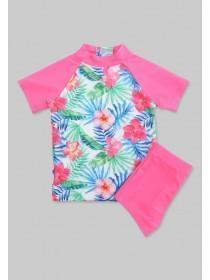 Younger Girls Pink Tropical Sun Safe Swim Set