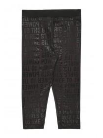 Older Girls Black Slogan Leggings