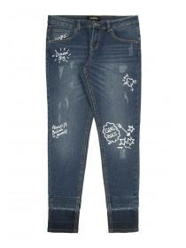 Older Girls Blue Graffiti Skinny Jeans