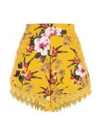 Womens Yellow Floral Crochet Trim Shorts