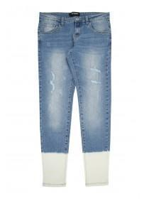 Older Girls Blue Bleached Hem Jeans