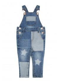 Younger Girls Blue Denim Star Dungarees
