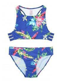 Older Girls Blue Floral Multi Strap Bikini