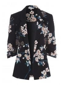Womens Black Floral Blazer
