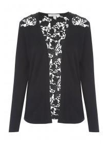 Womens Black Lace Back Cardigan