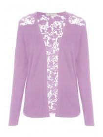 Womens Lilac Lace Back Cardigan