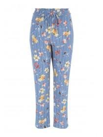 Womens Blue Floral Belted Trousers
