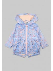 Baby Girls Light Blue Floral Cagoule Jacket