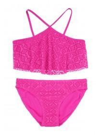 Older Girls Pink Layered Lace Bikini