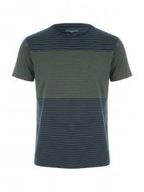 Mens Khaki Block Stripe T-Shirt