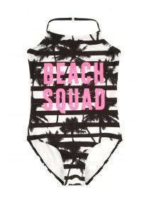 Older Girls Monochrome Slogan Swimsuit