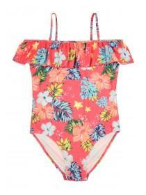 Older Girls Pink Floral Bardot Swimsuit