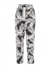 Womens Monochrome Leaf Print Satin Trousers