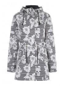 Womens Monochrome Floral Stripe Mac Coat
